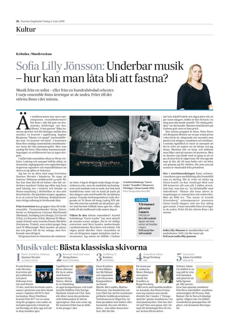 SvD 2018-03-02 - recension av sofia lilly jönsson