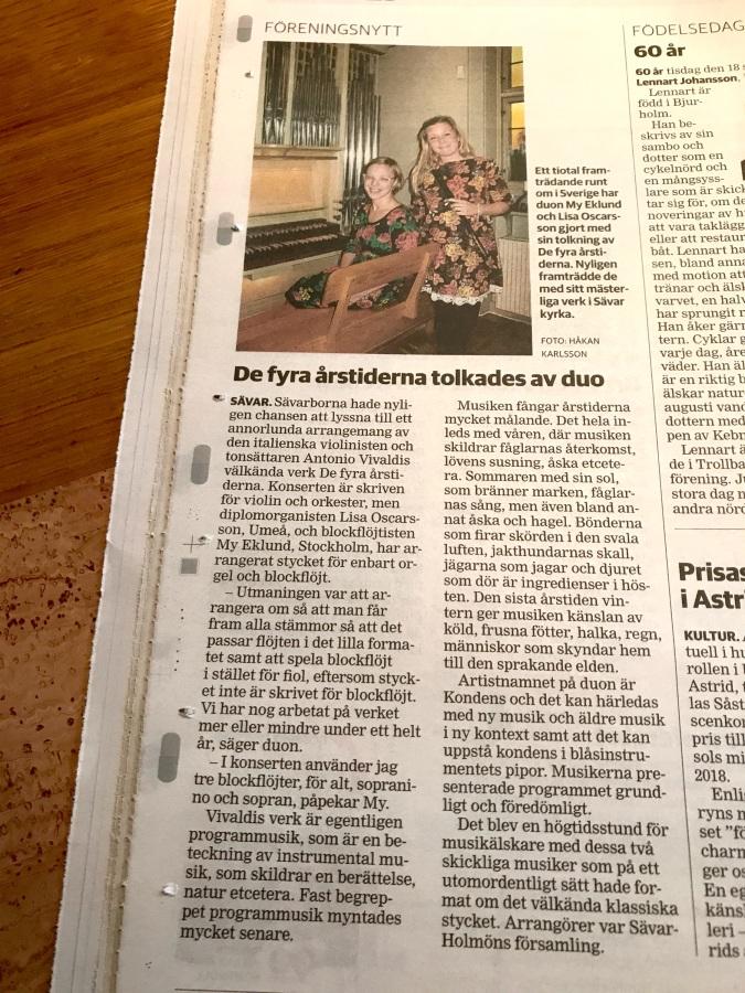 Artikel i VK från konsert iSävar